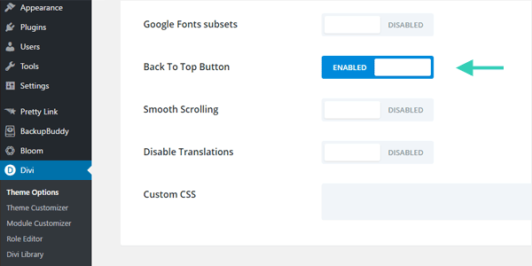 Divi Theme Options Back to Top