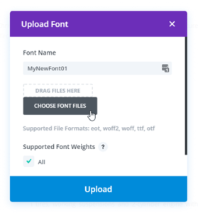 Add Custom Font to Divi - Upload
