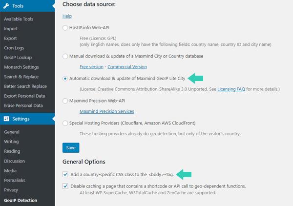 GeoIP Detection Plugin Settings