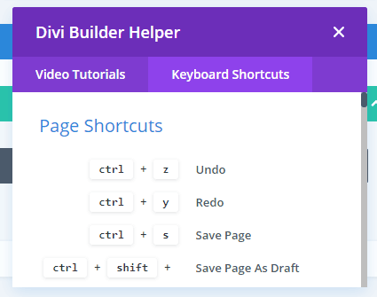Divi Builder Keyboard Shortcuts
