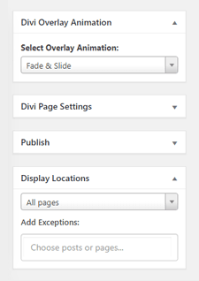 Divi Overlays Settings