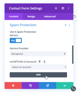 Divi Contact Form Settings Spam Protection